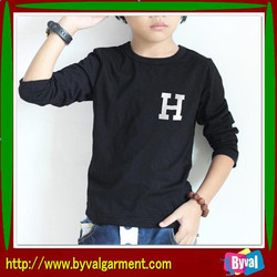 Professional OEM Children Dry Fit T-Shirts, Kids Tshirts Black,Fleece lined tshirt