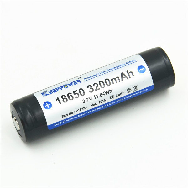 KeepPower P1832J li-ion 18650 3.7v 3200mah battery with protection