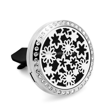 Stainless Steel Aroma Essential Oil Car Diffuser Crystal Locket, Flower locket pendant