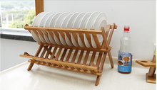 Kitchen Accessories Storage Holder Type 2 Levels Bamboo Folding Dish Rack