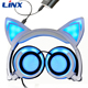 2017 China New Products Hot Rechargeable Wired Cat Headphone With Light Up Ears