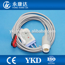 ECG cable 3-lead/snap/AHA for MINDRAY -PM5000, PM6000 T5 T6 T8
