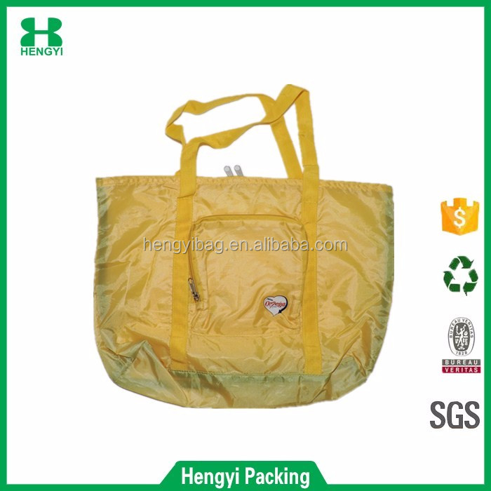China supplier yellow color fold up 210T polyester shopping tote bag with zipper
