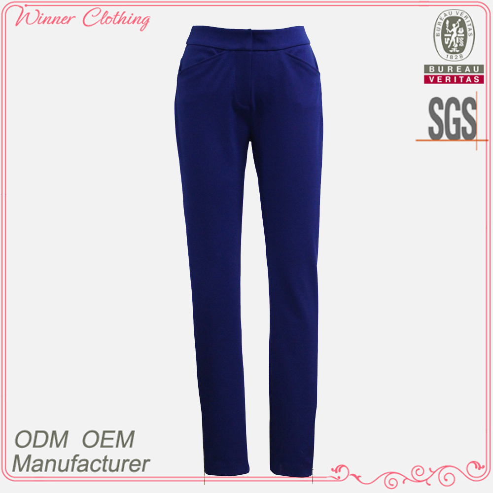 fashion ladies office formal slim fit pants long sapphire color trousers 2016 high quality tight women pants
