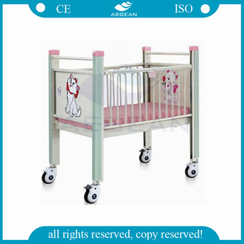 AG-CB004 Medical Appliances cartoon mobile metal baby bed for children