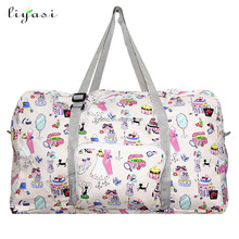 New design high quality custom printing lightweight carry luggage tote foldable folding travel traveling bag