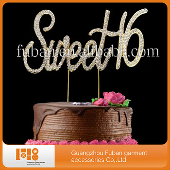 2017 sweet 16 birthday cake topper rhinestone cake topper wholesale