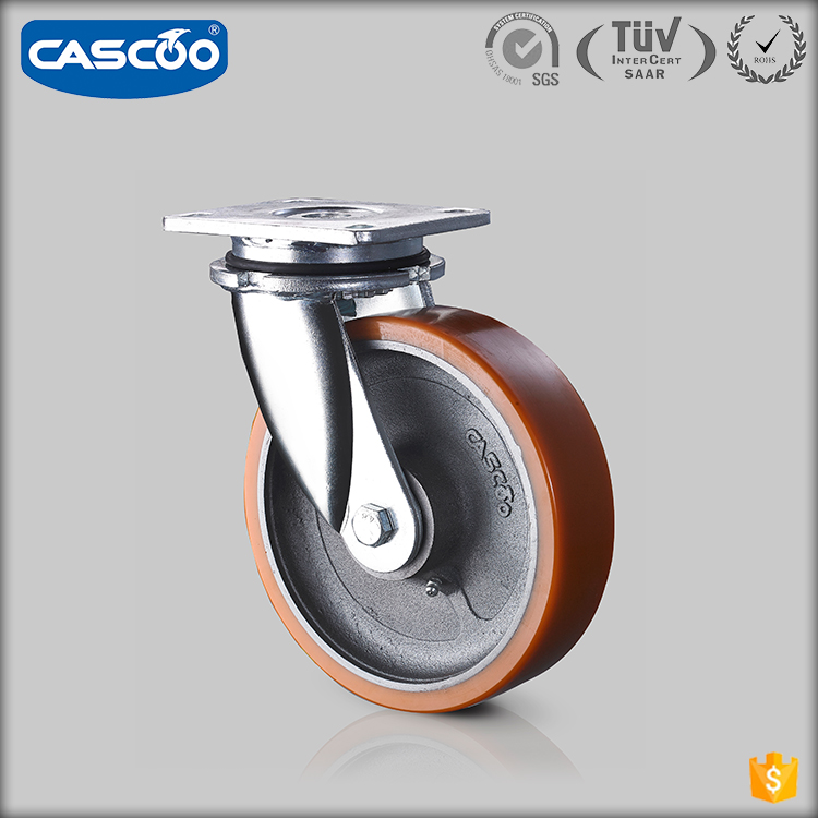 CASCOO 8 Inch Cast iron PU lndustrial swivel caster heavy duty cart wheels