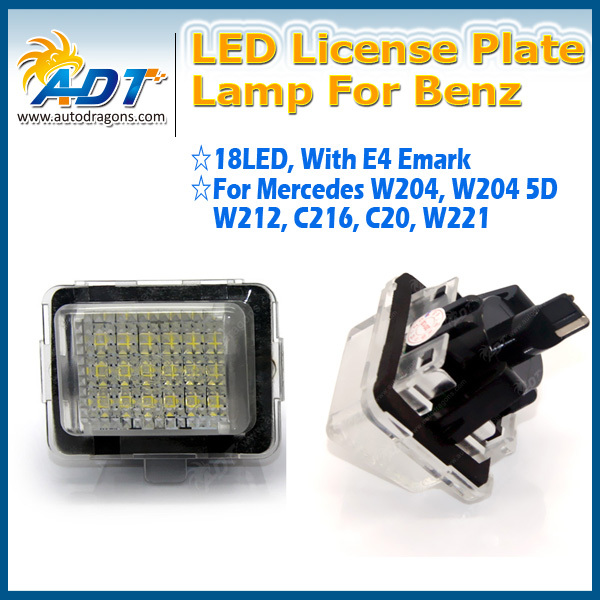 Super White LED License Plate Lights For Benz C-Class W204 2008-2014 CL-Class W216 2007-2011 Error Free Auto Parts