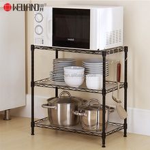 Durable Metal Wire Shelving Unit 3 Tiers Black Kitchen Pan Storage wire Rack