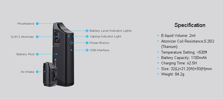 KIMSUN Slim 2R Vape Mods Box Kits 2ML TPD Vaper E-Cig Box Mod With 3 Colors