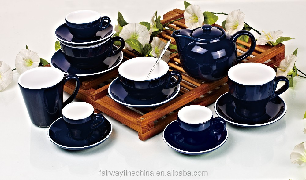 New arrival Chinese color glazed ceramic tea set coffee cup and saucer