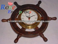 Nautical Wooden & Brass Wheel Clock
