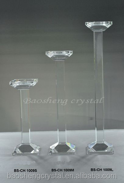 Gorgeous Crystal Doule Pillar Tall Glass Candle Holders / Crystal Candlesticks for wedding (BS-CH026B)