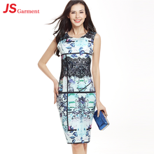 JS 20 In Stock Items Casual Style Nice Graffiti Lady Stitching Cotton Dress 741