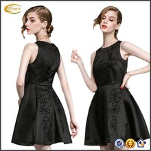 Ecoach Wholesale OEM New Arrival Elegant Women Formal Party Black Dress Sleeveless O Neck Embroidery Solid Aline Mini Dresses