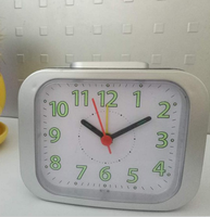 rectangle plastic modern simple alarm clock with light