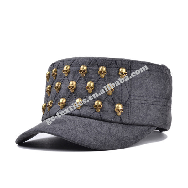 Rivet five panel flat skull cap for men and women outdoor fashion leather wholesale army cap visor cap