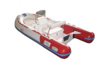 white with red fiberglass rib boat consoles