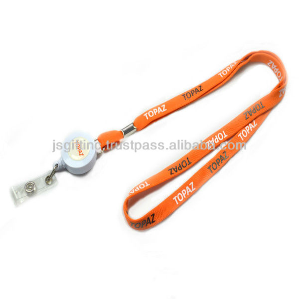 Tube flat polyester lanyard with badge holder