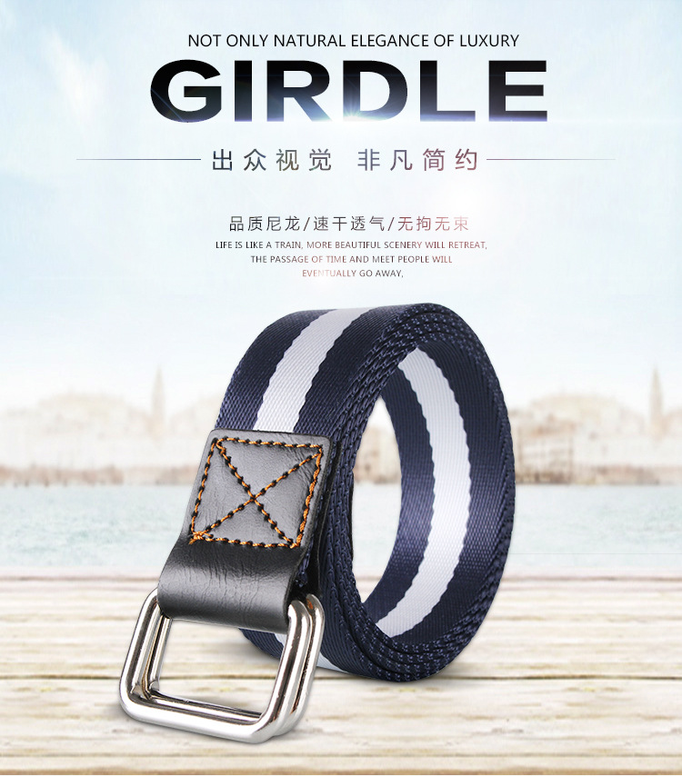 Double buckle leisure canvas belt for man and woman