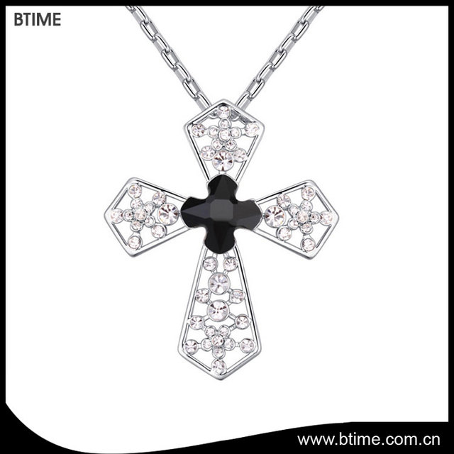 Hot sale cross shaped pendant jewelry necklace Crystals From Swarovski