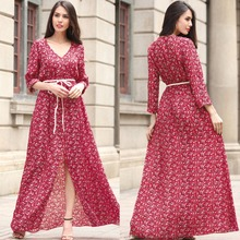 2017 summer new fashion floral maxi chiffon sexy ladies casual dress