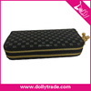 Black Double Zipper Flower Grid Wallet Purse Hand bags for Woman