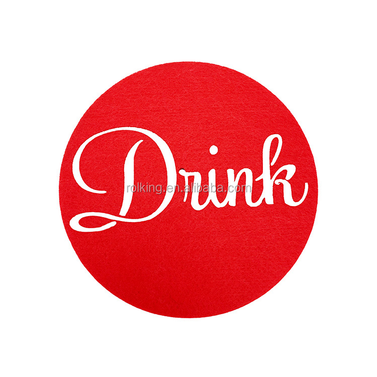 Coaster made by felt drink absorbent DRINK letter cup protect red green coaster