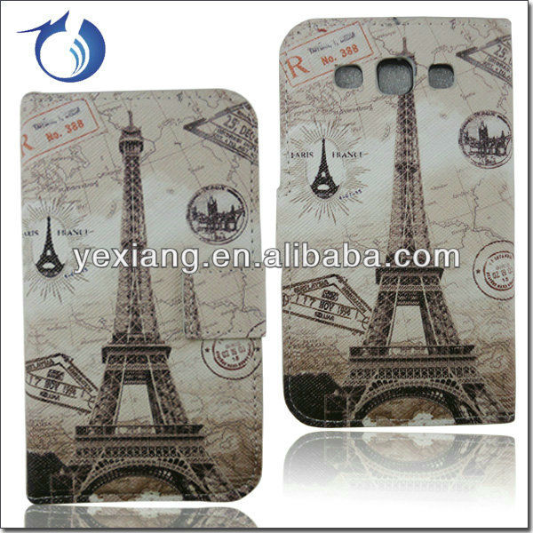 Eiffel Tower Decoration Wallet Leather Case For Samsung Galaxy Win I8552 Cover