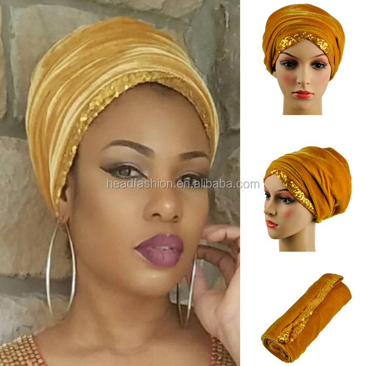 HQT07 Queency Custom Colorful Hijab Turban Velvet Headwraps Head Scarf with Sequence Border for Women Aso Ebi Style