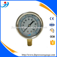 1000psi CE certified high quality 2.5 inch glycerine or silicone oil filled shockproof pressure gauge