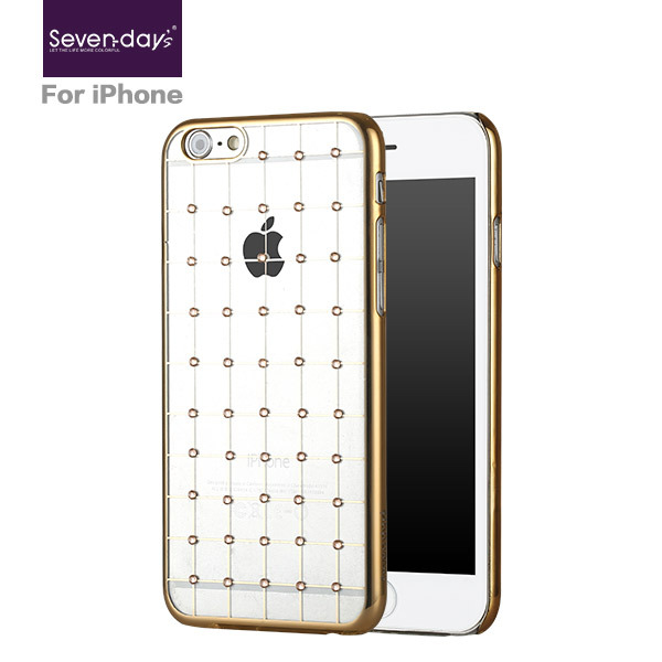 2015 Sevendays popular slim pc transparent phone case with crystal