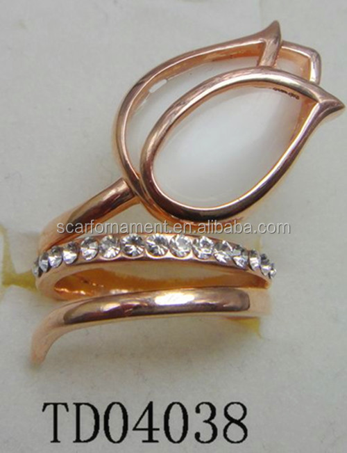 Lady's Tulip Flower Stretch Alloy Rings Elegant Rose Gold White Opal Inlaid Rhinestone Pave Metal Finger Rings