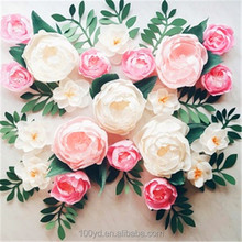 Custom print Mini decorative wall white Rose Flowers tissue paper