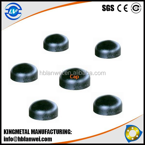 Alibaba Express ASTM A234 WPB Black Steel Cap Butt Welded Carbon steel pipe fitting