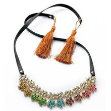 Special style handmade ethnic necklace, fashion leather necklace bulk buy from china