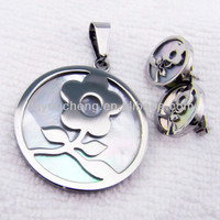 Stainless steel necklace and earring kids wholesale jewelry