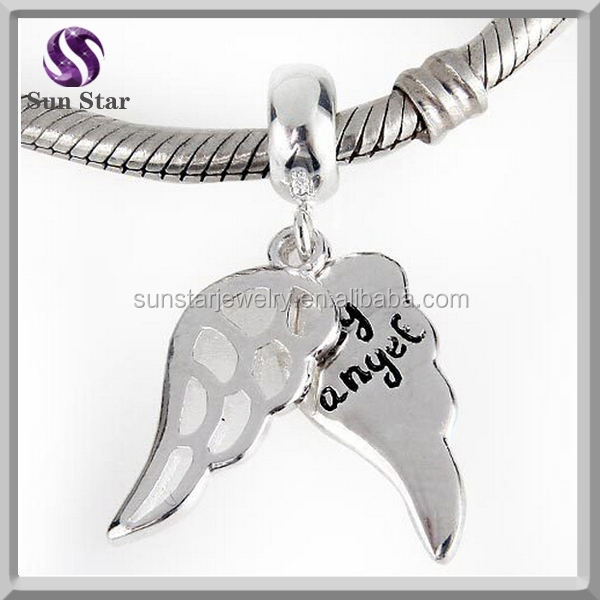 Authentic 925 sterling silver jewelry my angel wings charms for bracelet