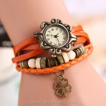 Top Quality 2014 New Fashion 7 Colors Leather Strap Dial Casual Vintage clover Women Watches leather ladies vogue wrist Watch