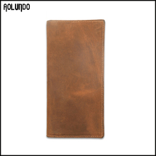 Brown thin long style top grain leather men wallet