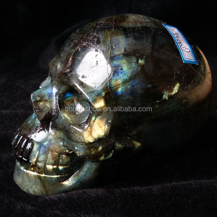 hand carved natural flashy labradorite quartz crystal stone skull for home decoration