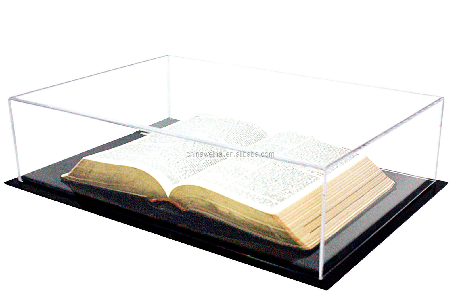 Deluxe Clear Acrylic Medium Book Display Case with UV Protection