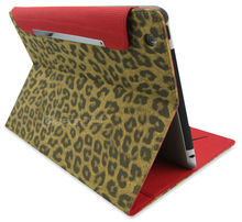 2013 Most Fashionable Leopard pattern PU leather case for iPad 4 in Guangzhou Factory