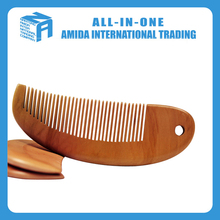 beautiful fish shape natural color hair wood comb