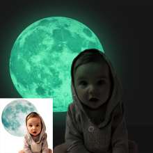 30cm Large Moon Glow in the Dark Luminous DIY Wall Sticker Living Home Decor Adesivo De Parede Vinilos Paredes Stickers Muraux