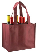 Solid Blank Wholesale Picnic Shopping Custom Cheap Non-Woven 6 Bottle Wine Bag