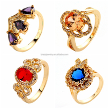 Different Gorgeous Precious Jewelry Colored Zircon Diamond Paved Latest Gold Ring for Women