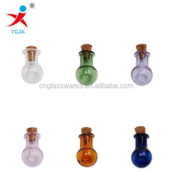 Mini colored glass bottle with cork view mini glass for Colored glass bottles with corks