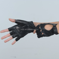 Fashion black genuine gloves motorcycle, leather bicycle gloves